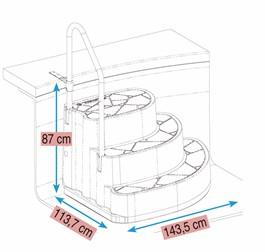 Trappe med stålbøjlegelænder